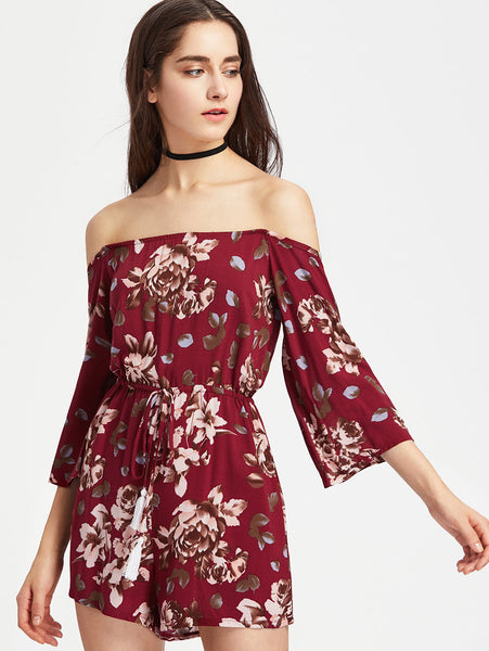 Burgundy Floral Print Off Shoulder 3/4 Sleeve Tassel Tie Romper
