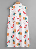 White Fruits Print Buttoned Front Overlap Back Shirt Dress