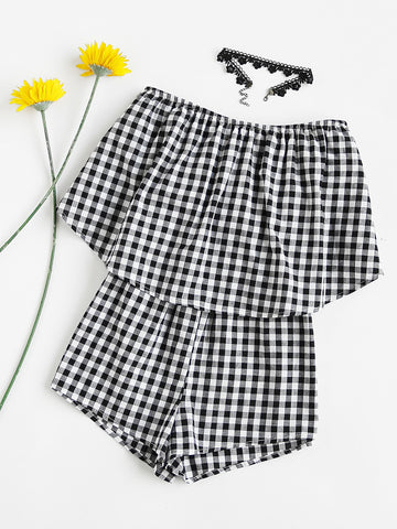 Black and White Checkered Double Layer Strapless Romper