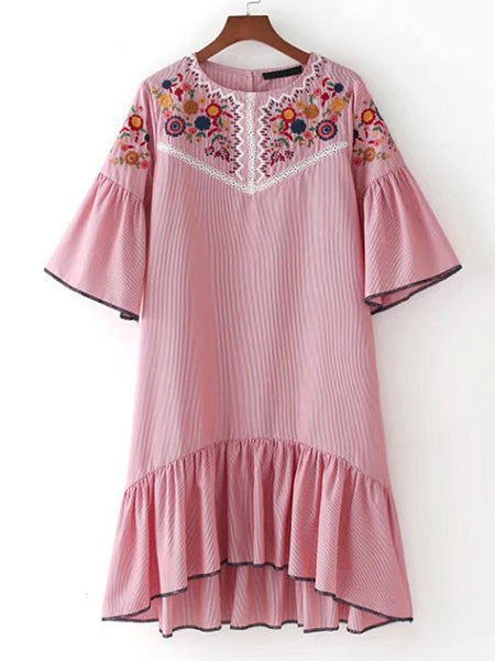 Pink Embroidered Bell Sleeve High Low Dress