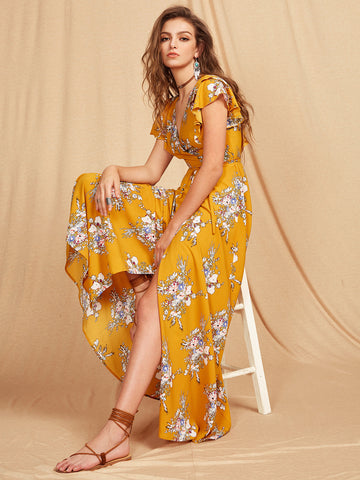 Yellow Wrap Self-Tie Floral Print Criss Cross Back Maxi Dress