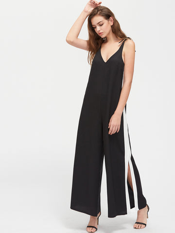 Black Contrast Knot Shoulder Panel Slit Pinafore Jumpsuit