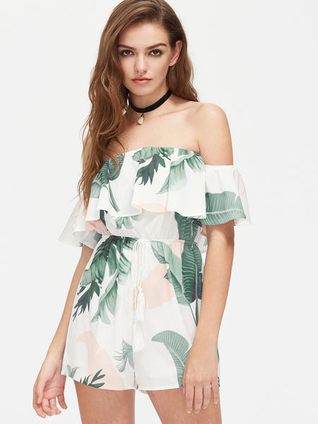 Multicolor Layered Off Shoulder Tropical Print Playsuit