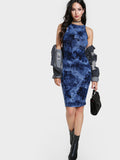Navy Tie Dye Boat Neck Bodycon Midi Dress
