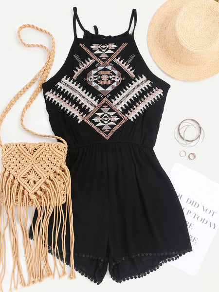 Black Aztec Embroidered Sleeveless Tie Back Pleated Romper