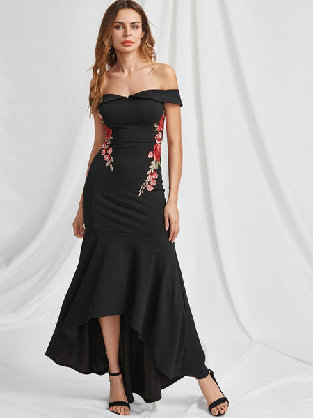Black Off Shoulder Foldover Rose Embroidered Fishtail Dress