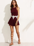 Burgundy Racerback Lace Insert Ladder Pleated Wide Leg Romper