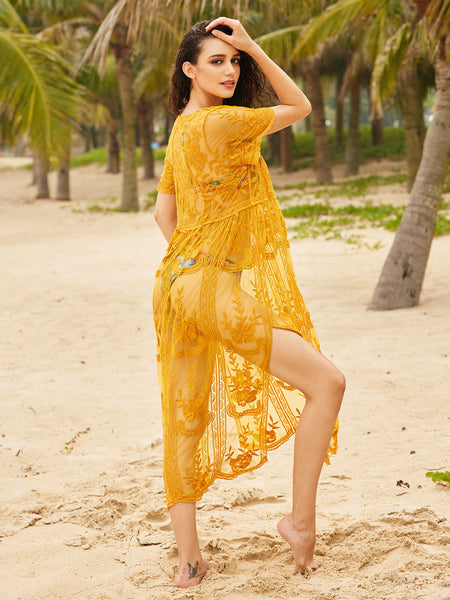 Yellow Embroidered Plungy Neck Side Slit Cover Up