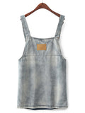 Blue Bleach Wash Denim Front Pocket Overall Dress