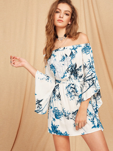 Blue Botanical Print Trumpet Sleeve Self Tie Dress
