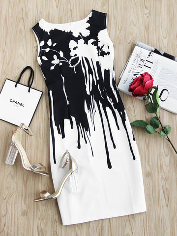 Black and White Contrast Drip Print Zip Back Dress