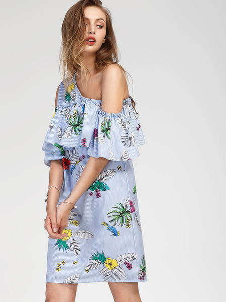 Blue Oblique Shoulder Tropical Print Frilled Dress