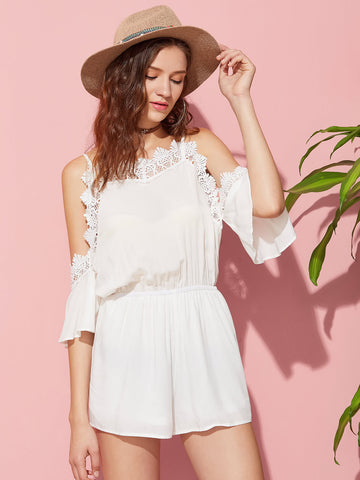 White Plain Lace Cami Straps Trim Flutter Sleeve Cold Shoulder Elasticized Waist Playsuit