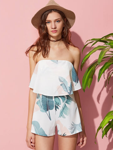 White Tropical Print Strapless Two Layer Bandeau Playsuit