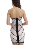 Multicolor Block Strapless Zip Back Bandeau Dress