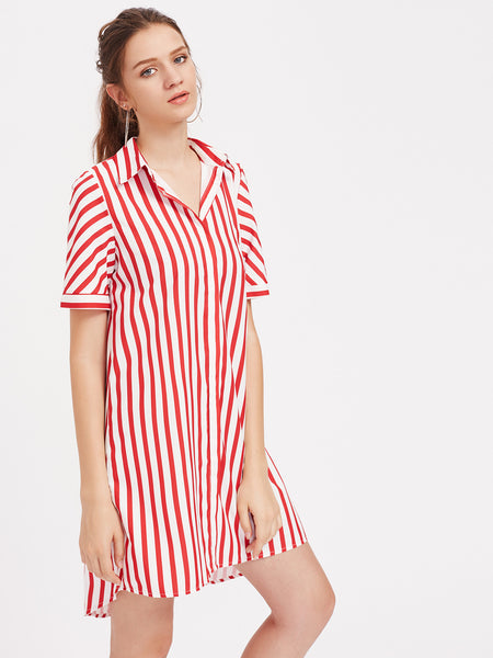 Red Vertical Striped Short Sleeve High Low Shirt Dress