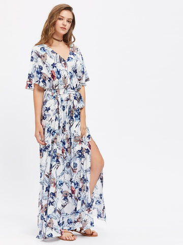 White Tropical Print Split Flare Sleeve Self Tie Maxi Dress