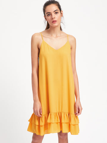 Yellow V-Neck Layered Hem Cami Midi Dress