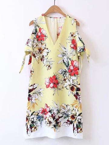 Yellow V-Neck Knot Sleeve Open Shoulder Dress