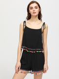 Black Double Layered Pom Pom Trim Self Tie Shoulder Playsuit