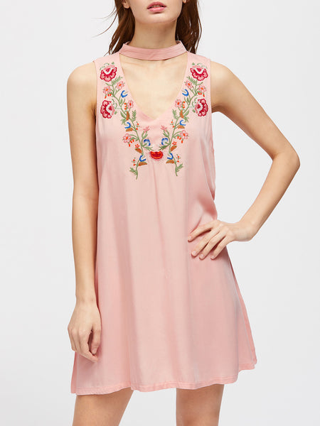 Pink V-Cut Embroidered High Neck Swing Dress