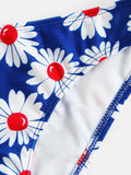 Blue Daisy Print Twisted Front Tie Back Bikini Set