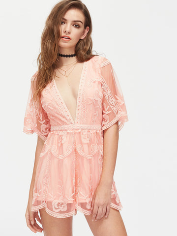 9fb5cd5d09 Pink Plain Half Sleeve V-Neck Scalloped Embroidered Tulle Overlay Romper