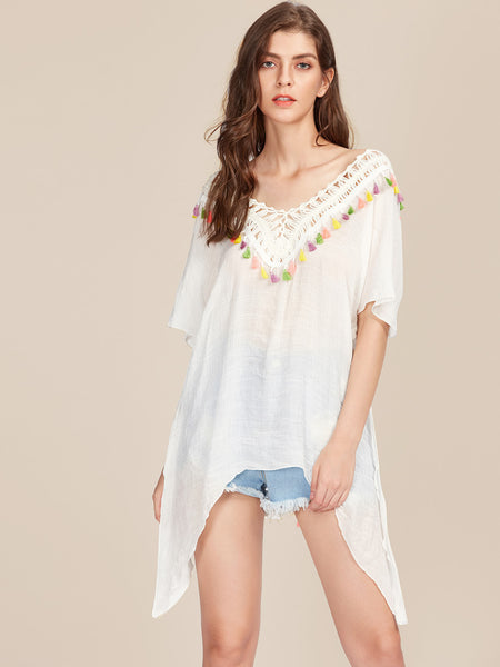 White V-Neck Crochet Panel Tassel Trim Beach Kaftan
