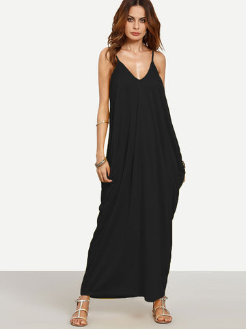 Black Plain V-Neckline Sleeveless Cocoon Cami Dress