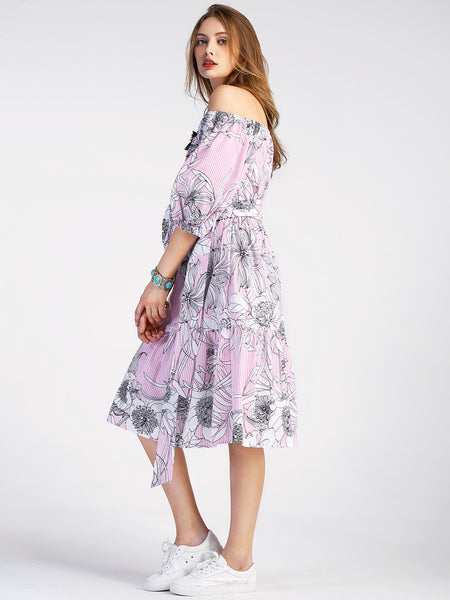 Pink Floral Print Puff Sleeve Midi Bardot Dress