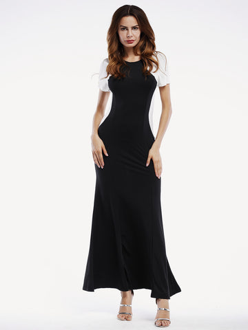 Black Contrast Round Neck Maxi Long Dress