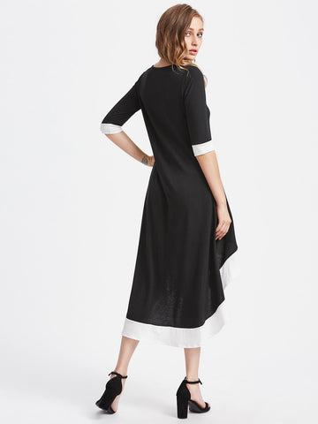 Black Contrast High Low Hem Half Sleeve Calf Dress