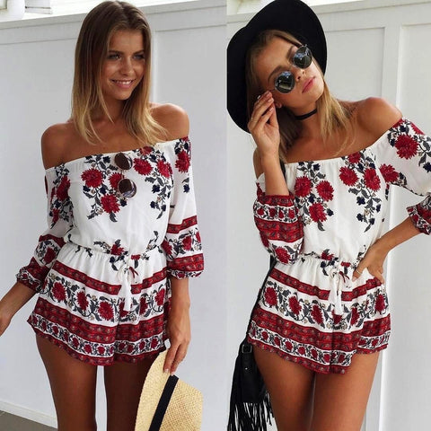 Off the Shoulder Red Floral Print Elegant Jumpsuit Romper