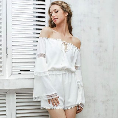Off Shoulder Hollow Out Flare Sleeve Jumpsuit Romper