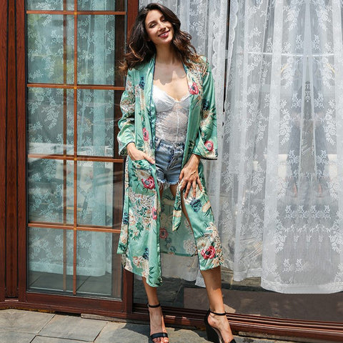 Floral print blouse shirt  long kimono Women sashes pocket  kimono cardigan Elegent long sleeve summer blouse blusas