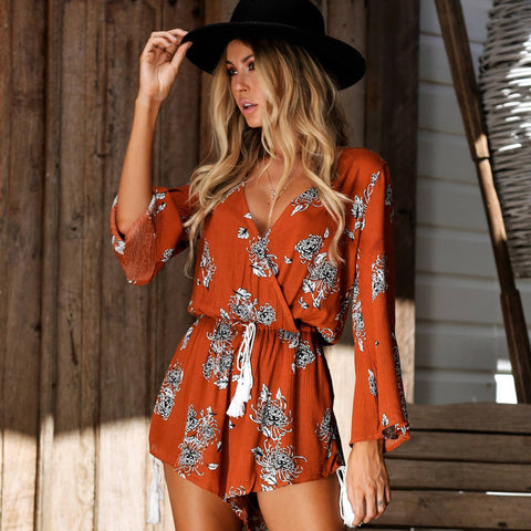 Elegant Burnt Orange Bell Sleeve Floral Print Jumpsuit Romper