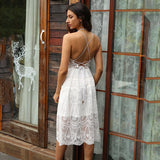 White Lace Backless Sexy Homecoming Wedding Dress