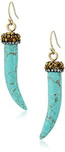 Turquoise Horn Drop Earrings