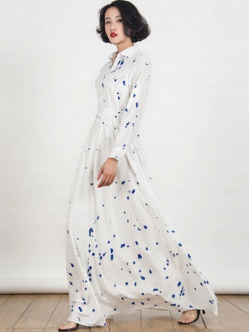 White Collar Shirt Splash Print Long Sleeve Maxi Dress