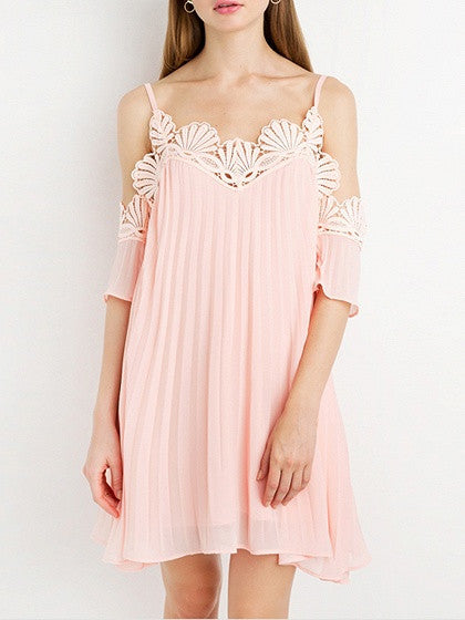 Pink Cold Shoulder Scallop Lace Trim Cami Mini Dress