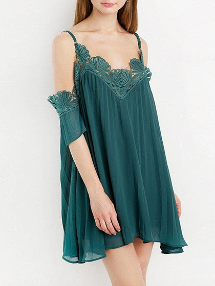 Green Cold Shoulder Scallop Lace Trim Cami Mini Dress