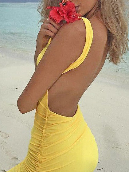 Yellow Sleeveless Ruched Backless Bodycon Mini Dress