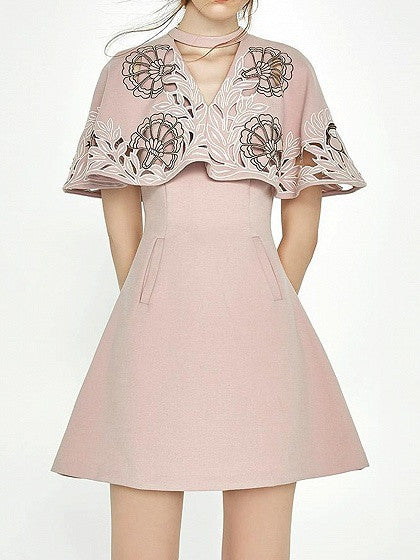 Pink Overlay Choker Neck Embroidered A-Line Dress