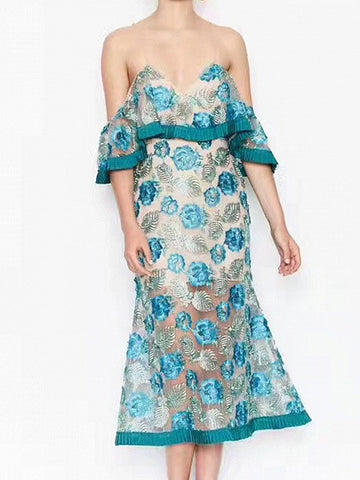 Blue V-Neck Spaghetti Strap Layered Ruffle Embroidery Lace Midi Dress