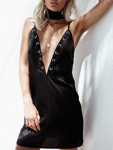 Black Choker Tie Metal Eyelet Plunge Detail Open Back Dress