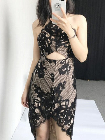 Black Cut Out Halter Neck Asymmetric Hem Lace Dress