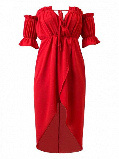 Red Wrap Off Shoulder Lantern Short Sleeve Asymmetric Hem Dress