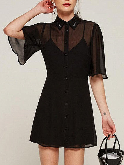 Black Embroidered Text Collar Front Button Sheer Chiffon Dress