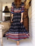Black Front Button 3/4 Sleeve Geo-Tribal Print Maxi Dress