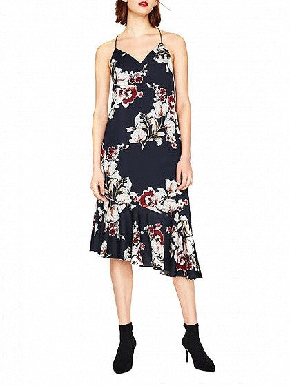Black V-Neck Floral Open Back Slope Ruffle Hem Midi Dress